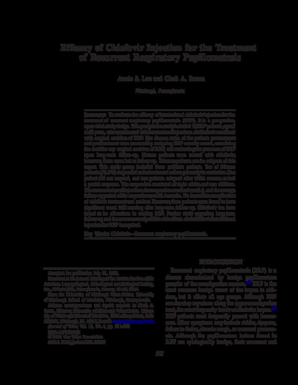 laryngeal papilloma and cidofovir)